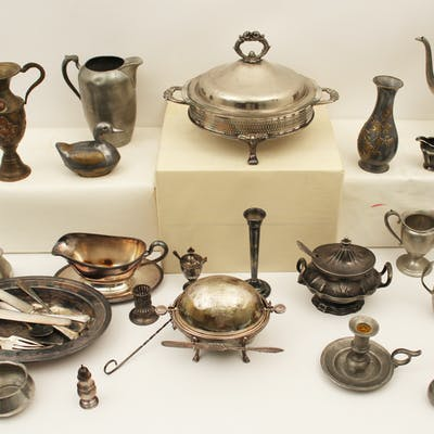 MISC. LOT OF SILVER PLATE AND PEWTER