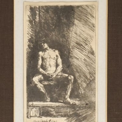 Rembrandt Etching [Nude Man Seated]