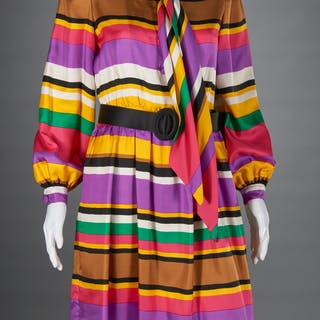 Norman Norell stripe silk dress