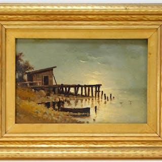 20C American Coastal Dock Sunset Painting