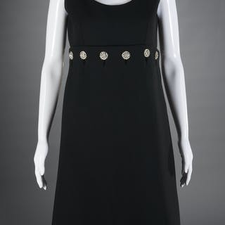 Norman Norell cocktail dress with jeweled buttons