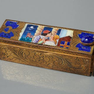 Goldwashed French silver and enamel lipstick case