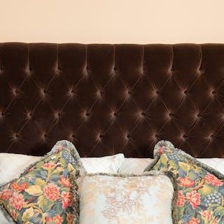 Brown Tufted Velvet Headboard