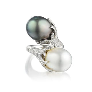 A Cultured Pearl and Diamond Bypass Ring