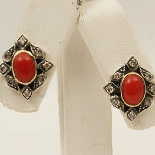 PR. OF 18K DIAMOND AND CORAL EARRINGS