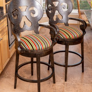 Pair Contemporary Black Painted Wood Bar Chairs