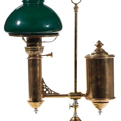 E. MILLER BRASS SINGLE-ARM KEROSENE STUDENT LAMP