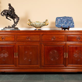 Chinese Carved Harwood Sideboard