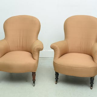 Near pair Victorian upholstered slipper chairs