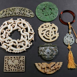 (8) CHINESE CARVED JADE PLAQUES