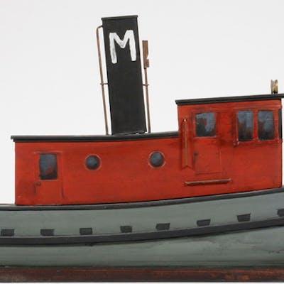 CARVED TUGBOAT MODEL