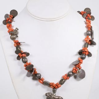 SPANISH COLONIAL CORAL AND SILVER COINS NECKLACE