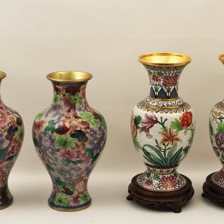 2 PAIRS OF HIGH QUALITY CLOISONNE VASES