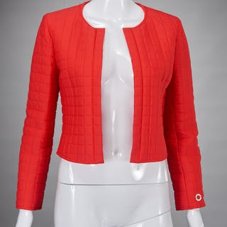 Chanel Identification cropped red jacket
