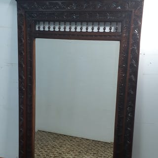 FRENCH CARVED OAK BRITTANY STYLE MIRROR