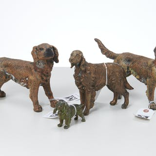 (4) bronze and metalware spaniels