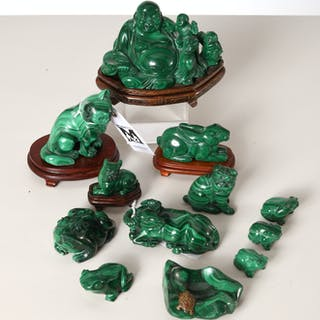 Collection Chinese malachite carvings