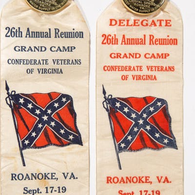 CIVIL WAR VIRGINIA UCV 1913 REUNION BADGES AND RIBBONS, LOT OF TWO