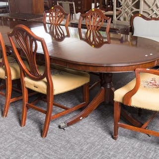 Mahogany Dining Table with 6 Chairs and 2 Leaves
