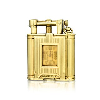 """Dunhill Art Deco """"Unique Dunhill"""" Watch on Lighter in 14K Gold"""