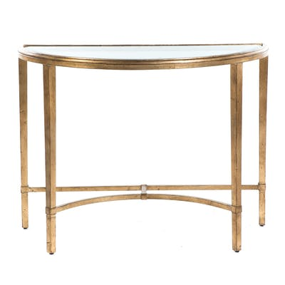 Gilt-Painted Glass-Top Demilune Table