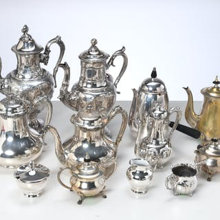 Silver plate tea and coffee collection