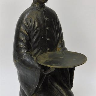 EARLY Chinese Qing Dynasty Bronze Attendant Figure