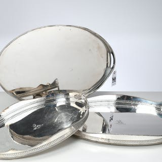(3) nice English silver plated gallery trays