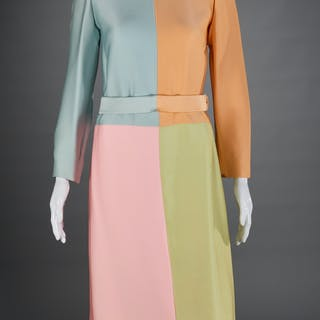 Vintage Norman Norell colorblock silk dress