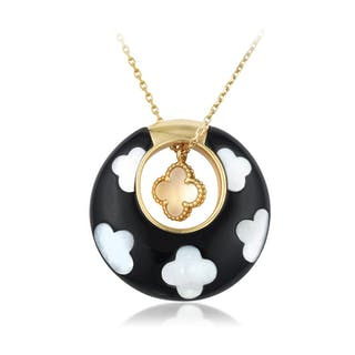 Van Cleef & Arpels Alhambra Onyx and Mother of Pearl Pendant Necklace