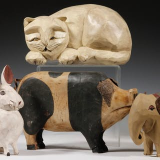 (4) FOLK ART CARVED ANIMALS, PAIGE & LARRY KOOSED