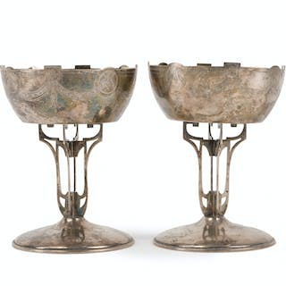 A pair of Russian silver chalices