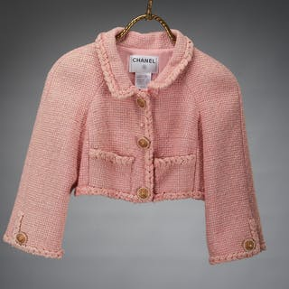 Chanel pink tweed boucle crop jacket
