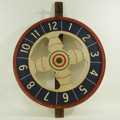 American Folk Art Painted Wood Game Wheel
