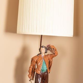 Painted Metal Figural Table Lamp