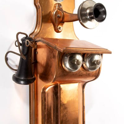 ANTIQUE COPPER WALL TELEPHONE