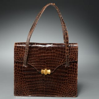 Saks Fifth Avenue brown crocodile handbag