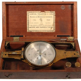 SAMUEL THAXTER & SON CASED SURVEYING COMPASS