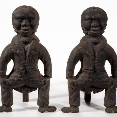 PAIR OF FOLK ART / BLACK AMERICANA FIGURAL CAST-IRON ANDIRONS