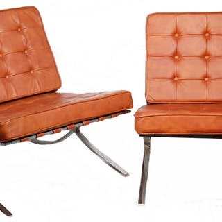 PR OF LEATHER AND CHROME BARCELONA STYLE CHAIRS