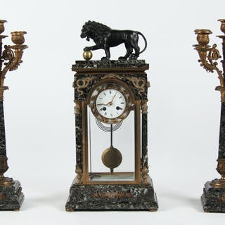 3 PC. FRENCH BRONZE AND MARBLE CLOCK SET