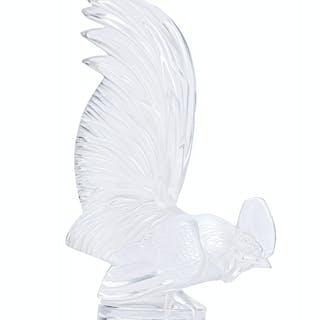 """A Lalique """"Coq Nain"""" art glass car mascot"""