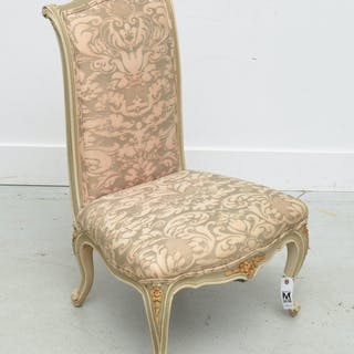 Fortuny upholstered Louis XV style boudoir chair