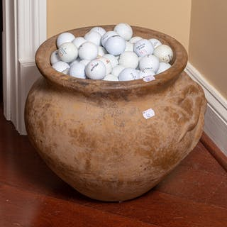 Large Terracotta Bowl With Golf Balls