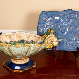 Faience Style Centerbowl and a Plaque