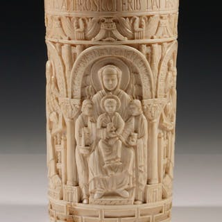 CONTINENTAL 17TH-18TH C. IVORY HOLY WATER BUCKET