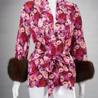 Tuleh silk print jacket with fur cuffs