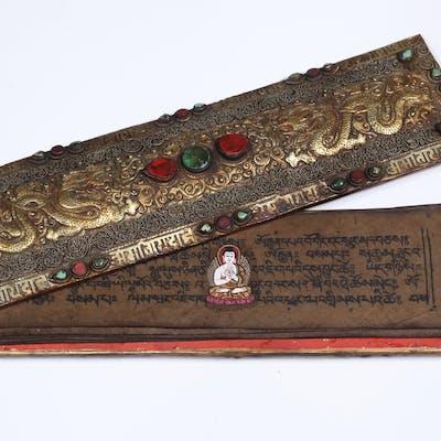 REPOUSSE GILT METAL TIBETAN PRAYER BOX
