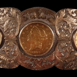 SPECTACULAR CARVED GOLD & STERLING SILVER COWBOY BELT BUCKLE WITH