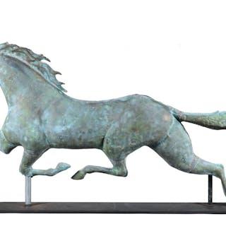 LARGE ETHAN ALLEN MOLDED FULL BODY COPPER RUNNING HORSE WEATHERVANE